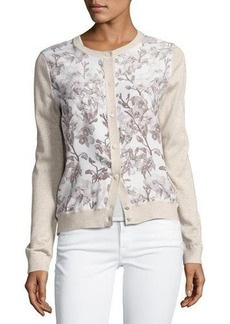 Neiman Marcus Cashmere Collection Floral Silk-Front Lurex® Bomber Cardigan