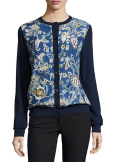Neiman Marcus Cashmere Collection Garden-Print Silk/Cashmere Bomber Cardigan