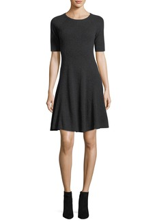 Neiman Marcus Cashmere Collection Half-Sleeve Crewneck Cashmere Sweaterdress