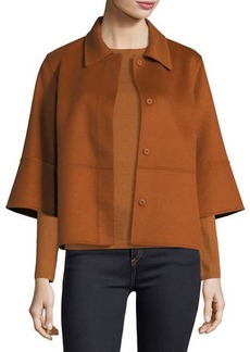 Neiman Marcus Cashmere Collection Luxury Kimono-Sleeve Double-Face Cashmere Cropped Jacket
