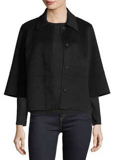 Neiman Marcus Cashmere Collection Kimono-Sleeve Double-Face Cashmere Cropped Jacket