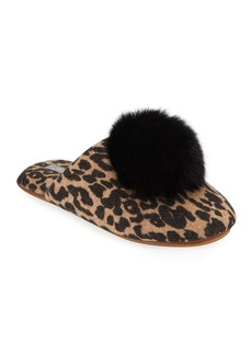 Neiman Marcus Cashmere Collection Leopard-Print Cashmere Fox Fur-Trim Slippers