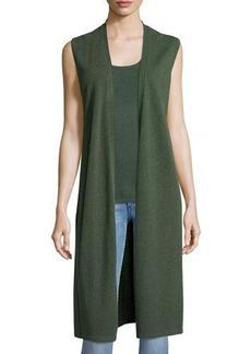 Neiman Marcus Cashmere Collection Long Cashmere Vest W/ Side Slits