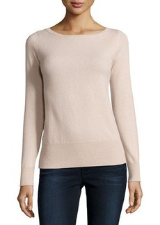 Neiman Marcus Cashmere Collection Long-Sleeve Bateau-Neck Cashmere Top