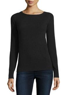 Neiman Marcus Cashmere Collection Long-Sleeve Bateau-Neck Cashmere Top
