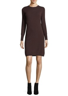 Neiman Marcus Cashmere Collection Long-Sleeve Crewneck Cashmere Dress