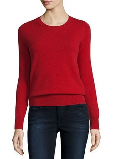 Neiman Marcus Cashmere Collection Long-Sleeve Crewneck Cashmere Sweater