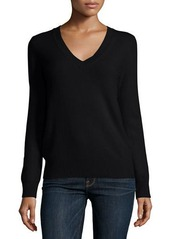 Neiman Marcus Cashmere Collection Long-Sleeve Deep V-Neck Cashmere Top