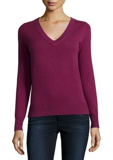 Neiman Marcus Cashmere Collection Long-Sleeve V-Neck Cashmere Top