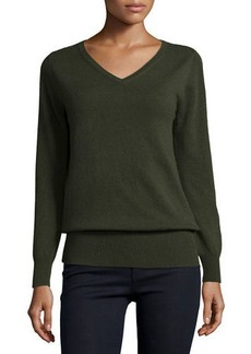 Neiman Marcus Cashmere Collection Long-Sleeve V-Neck Relaxed-Fit Cashmere Sweater