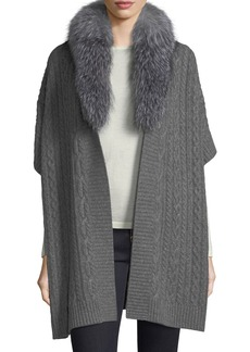 Neiman Marcus Cashmere Collection Luxury Cable-Knit Cashmere Cape w/ Fox Fur Collar