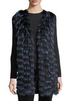 Neiman Marcus Cashmere Collection Luxury Cashmere Vest w/ Fox Fur Front & Sequin-Trim Back