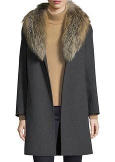Neiman Marcus Cashmere Collection Luxury Double-Face Cashmere Coat w/ Fox Fur Collar
