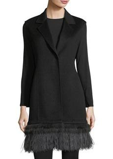 Neiman Marcus Cashmere Collection Luxury Double-Face Cashmere Vest w/ Fox Fur & Ostrich Feather Trim