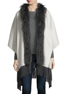 Neiman Marcus Cashmere Collection Luxury Double-Faced Cashmere Shawl w/ Fox Fur Collar & Suede Fringe Hem