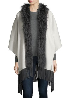 Neiman Marcus Luxury Double-Faced Cashmere Shawl w/ Fox Fur Collar & Suede Fringe Hem