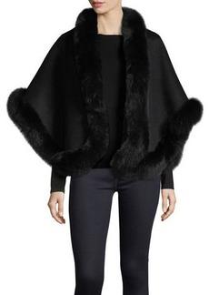 Neiman Marcus Cashmere Collection Luxury Double-Faced Cashmere Short Cape w/ Fox Fur Trim