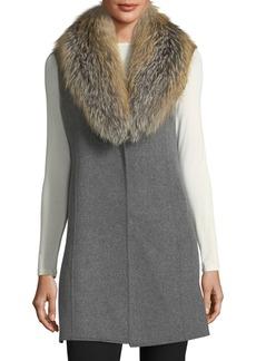 Neiman Marcus Cashmere Collection Luxury Double-Faced Cashmere Vest w/ Fox Fur Collar