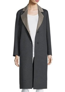 Neiman Marcus Cashmere Collection Luxury Double-Faced Long Notch-Collar Cashmere Coat