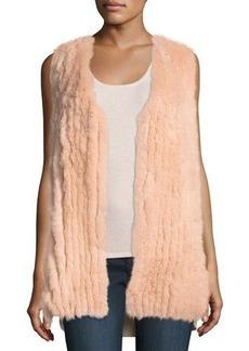 Neiman Marcus Cashmere Collection Luxury Fox Fur Vest w/ Sequin-Trim Cashmere Back