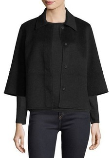 Neiman Marcus Cashmere Collection Luxury Kimono-Sleeve Double-Face Cashmere Cropped Jacket