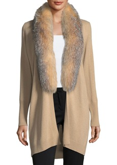 Neiman Marcus Cashmere Collection Luxury Oversized Cashmere Cardigan w/ Fox Fur Collar