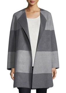 Neiman Marcus Cashmere Collection Luxury Striped Curved Double-Faced Cashmere Coat