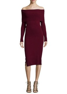 Neiman Marcus Cashmere Collection Off-the-Shoulder Cashmere Sweaterdress