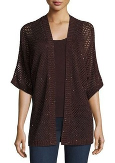 Neiman Marcus Cashmere Collection Open-Weave Sequin Cashmere Cardigan