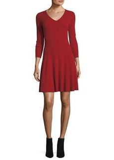 Neiman Marcus Cashmere Collection Ribbed Fit-&-Flare Cashmere Sweaterdress