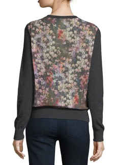 Neiman Marcus Cashmere Collection Romantic Floral Chiffon-Back Cashmere Bomber Cardigan
