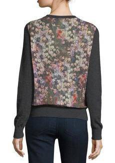 Neiman Marcus Cashmere Collection Romantic Floral Chiffon-Back Cashmere Bomber Cardigan