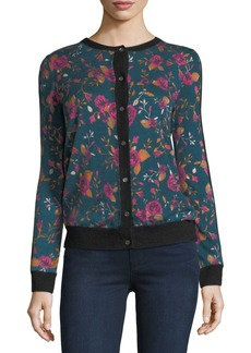 Neiman Marcus Cashmere Collection Rose Cashmere Bomber Cardigan