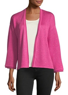 Neiman Marcus Cashmere Collection Sequin Silk/Cashmere Open Cardigan