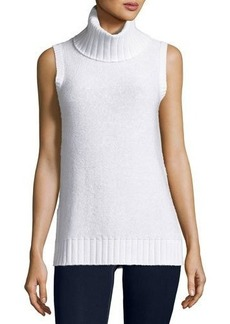 Neiman Marcus Cashmere Collection Sequined Cashmere Turtleneck Shell