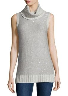 Neiman Marcus Cashmere Collection Sleeveless Sequin Cashmere Turtleneck