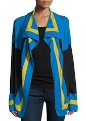 Neiman Marcus Cashmere Collection Striped Cashmere Cardigan