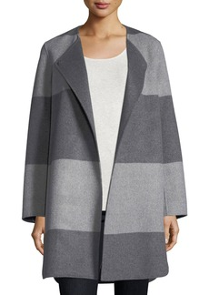 Neiman Marcus Cashmere Collection Striped Curved Double-Faced Cashmere Coat