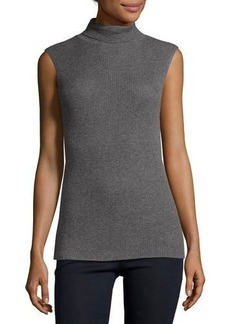 Neiman Marcus Cashmere Collection Superfine Sleeveless Ribbed Cashmere Turtleneck