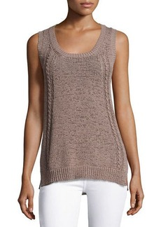 Neiman Marcus Cashmere Collection Tape-Yarn Tank