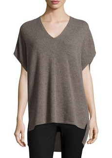 Neiman Marcus Cashmere Collection V-Neck Cashmere Cocoon Tunic
