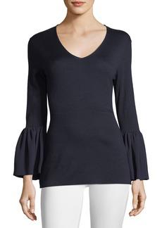 Neiman Marcus V-Neck Ruffle-Cuff Silk/Cashmere Sweater