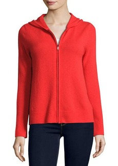 Neiman Marcus Cashmere Collection Zip-Front Drawstring Hoodie