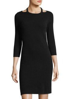 Neiman Marcus Cashmere Cutout Sweater Dress