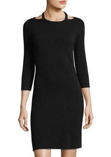Neiman Marcus Cashmere Cutout Sweater Dress