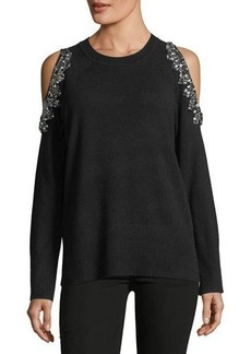 Neiman Marcus Cashmere Embellished Cold-Shoulder Sweater