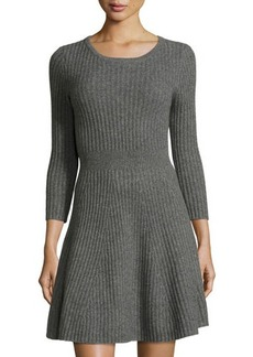 Neiman Marcus Cashmere Fit-and-Flare Sweater Dress