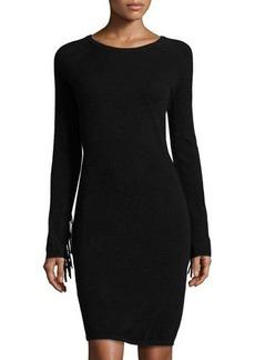 Neiman Marcus Cashmere Fringed-Sleeve Sweater Dress