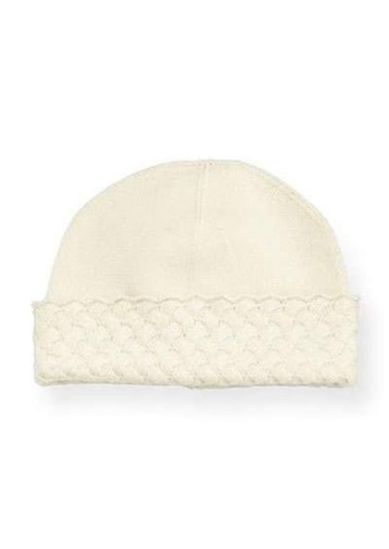 Neiman Marcus Cashmere Jersey Hat w/Basket-Weave Trim