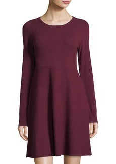 Neiman Marcus Cashmere Long-Sleeve Dress